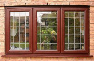 brown leaded casement window